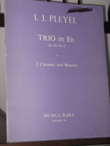 Pleyel I J - Trio in E Flat Op 20 No 2 for 2 Clarinets & Bassoon